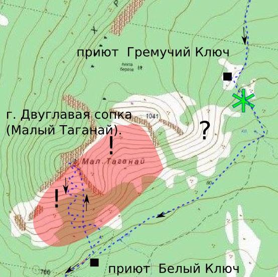 Таганай, карта маршрута к горе Двуглавая