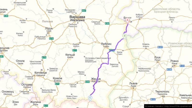 Маршрут: Брест (ещё Белоруссия) - Люблин - Жешув - Кошице (уже Словакия)