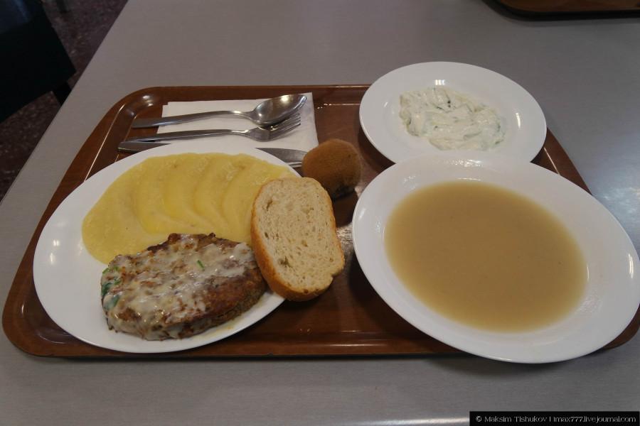 Котлета с картофельным пюре, картофельный крем-суп, дзадзики (огуречный салат) и киви