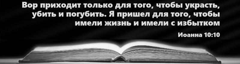 Ин 10:10: «Вор приходит только для того, чтобы украсть, убить и погубить. Я пришел для того, чтобы имели жизнь, и имели с избытком».