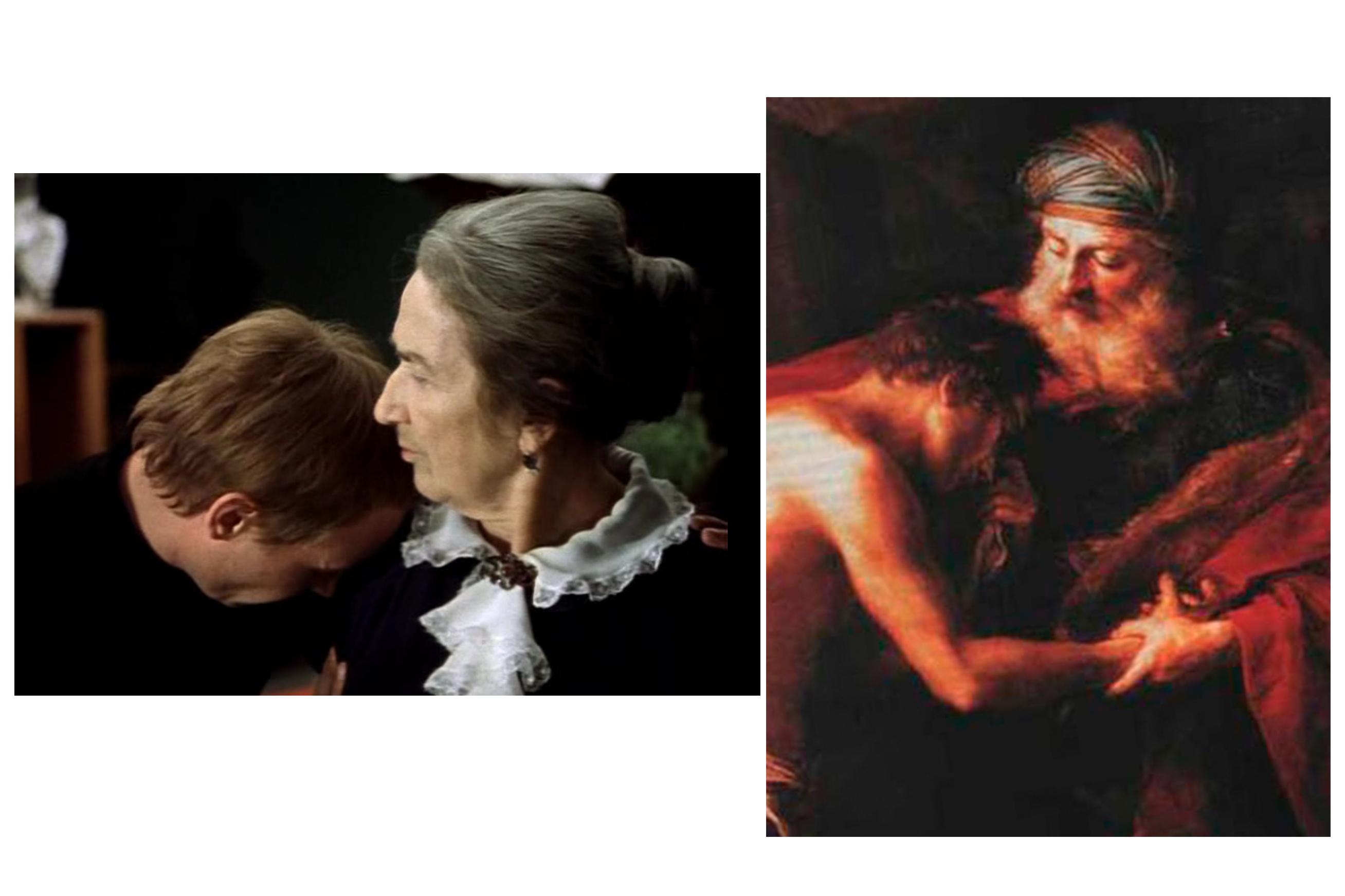 10. Лукашин обнимает мать стоя на коленях. Справа -Помпео Ботрим. Возвращение блудного сына.