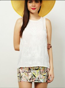HANNE EMBROIDERED SLVLESS BLOUSE - WHITE