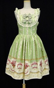 int Rose and Playing Cards High Waist JSK green 1