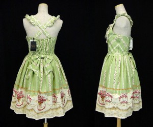 int Rose and Playing Cards High Waist JSK green 3