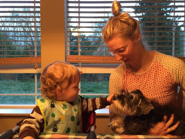 мама. сын и собака