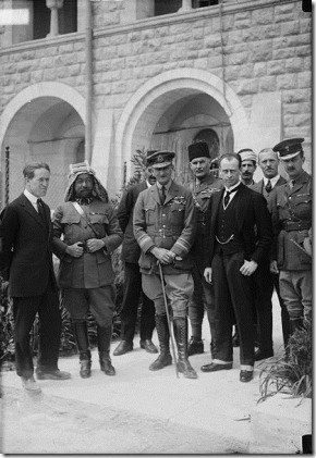 Col. T. E. Lawrence, Emir Abdullah, Air Marshal Sir Geoffrey Salmond, Sir Herbert Samuel H.B.M. high commissioner and Sir Wyndham Deedes and others in Jerusalem. 1917