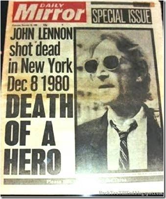 Daily Mirror anunciando a morte de John Lennon 1980