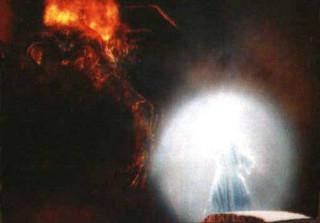 Гендальф использует магический щит, чтобы защититься от удара огненного меча Балрога