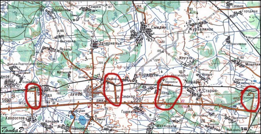 карта военных бетонок