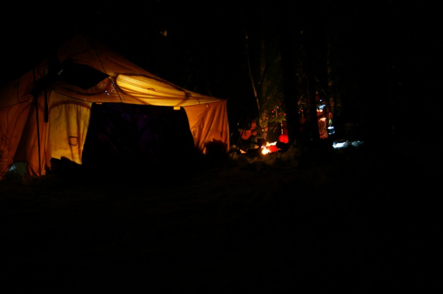 Вид на лагерь из темного леса