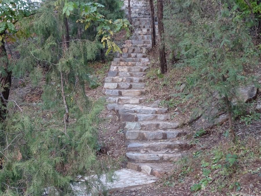 Лестница от озера к храму