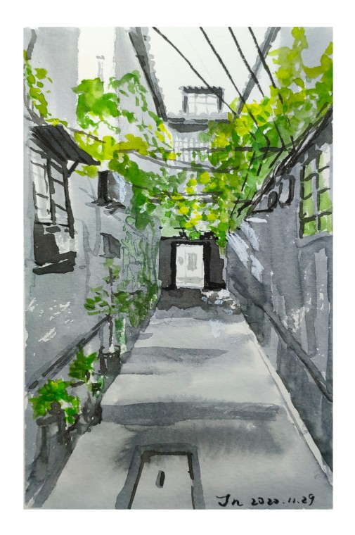 Artist: Joanna 姜楠. A lane at 927 Fuxing East Road /复兴东路九二七弄