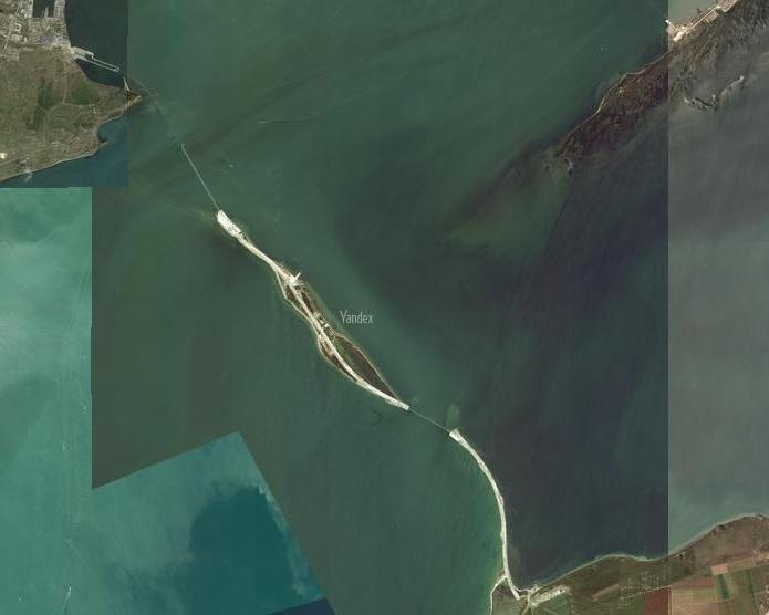 Обновлённые фото Крымского моста со спутника. Яндэкс. 1