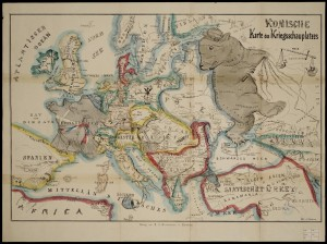 1854 Comical Battlefield Map or Birds-Eye View of Europe