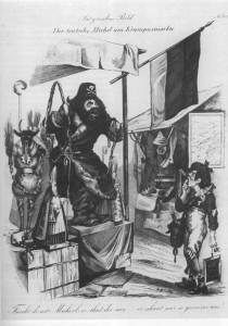 1849 Немец Михель стоит на Рождественском базаре перед ним свНиколай и грозящий кнутом его холоп Рупрехт
