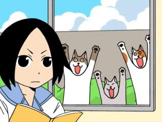 Кэномото Тятя в классе и коты