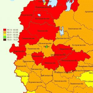 Продолжительность жизни мужчин в Центральной России на 2008 г.
