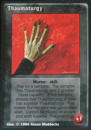 """""""Thaumaturgy"""" card from the card game """"Vampire: The Eternal Struggle"""" (formerly """"Jyhad"""")"""