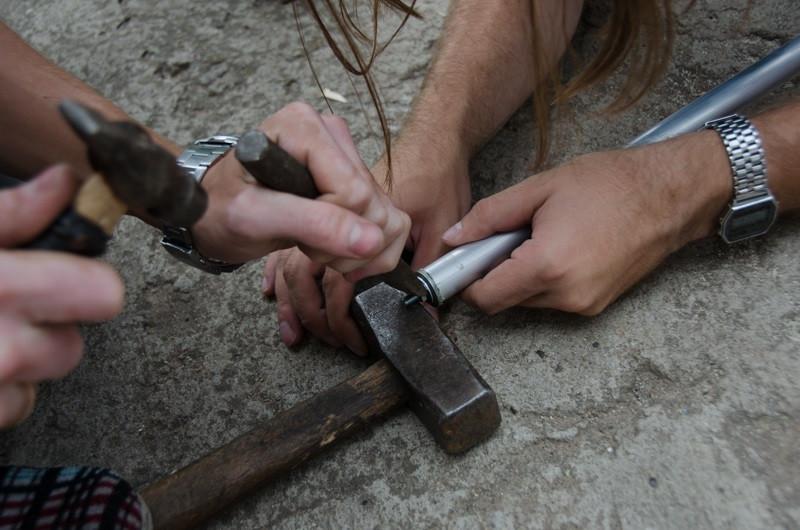 срезание резьбы на штычке альпенштока
