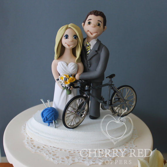 Personalized-Bicycle-Wedding-Cake-Topper-Grey-Bike-and-Knitting