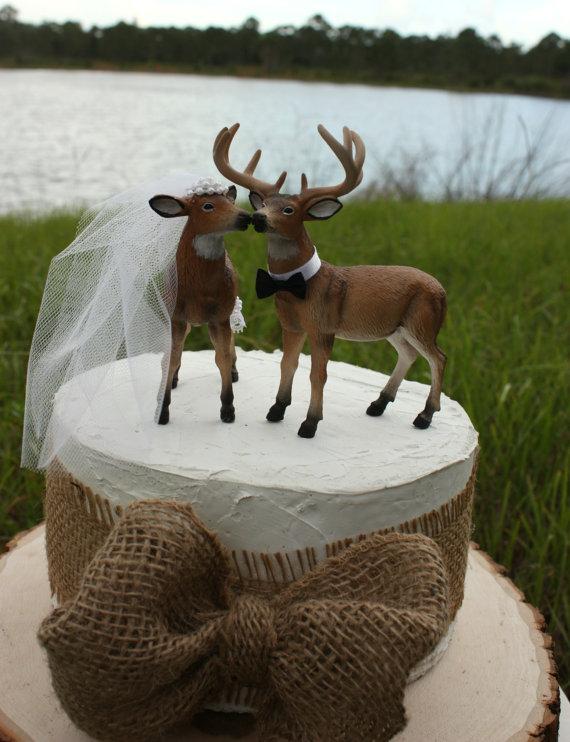 Doe-and-Buck-cake-topper-Deer-wedding-cake-topper-Hunting-wedding-cake
