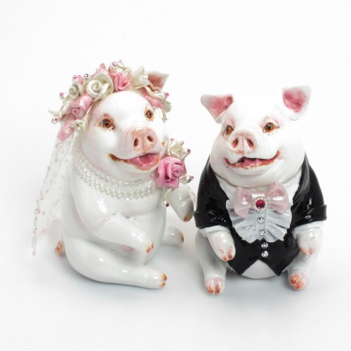 Pig-Wedding-Cake-Toppers-Clay-Sculpted-Figurine-Decoration-Gift-sculpted-figurine