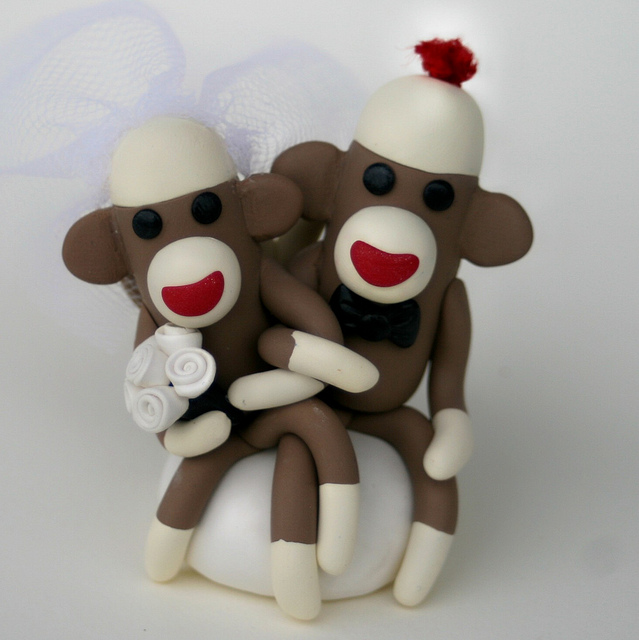 Sock-Monkey-Wedding-Cake-Topper-Sitting-4-inch-Custom-Made-in-Your-photo