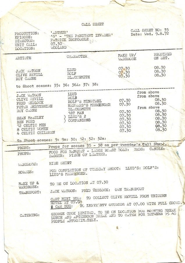 Call Sheet Penitent Invader 9 Aug 72 small