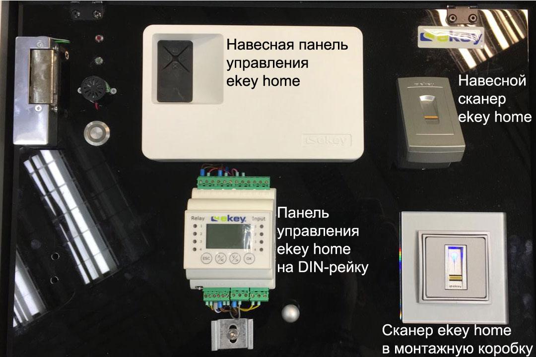 ekey homе: 2 вида панелей управления (накладные и на DIN-рейку) и 2 вида сканеров отпечатков пальцев (навесной и в монтажную коробку)