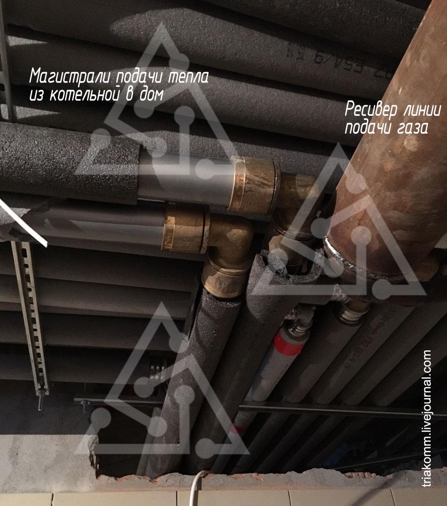 Магистрали подачи тепла из котельной в дом, ресивер линии подачи газа
