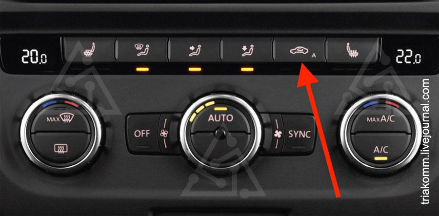 Этой кнопкой включается рециркуляция воздуха в автомобильной климатической системе