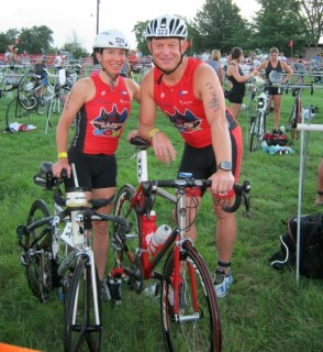 Shellie and I in transition before the race, Photo by Brian