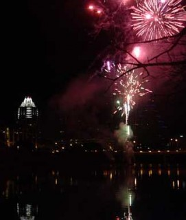 Fireworks over Town Lake
