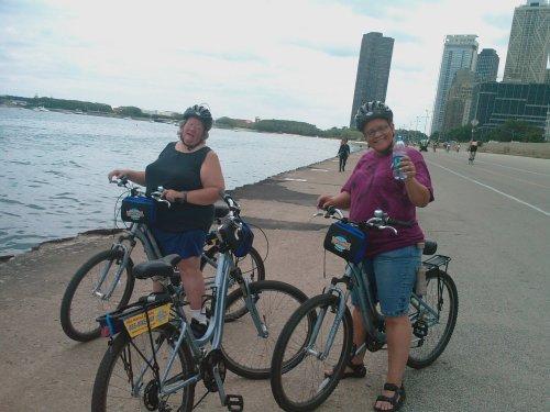 Elsa & Judi biking