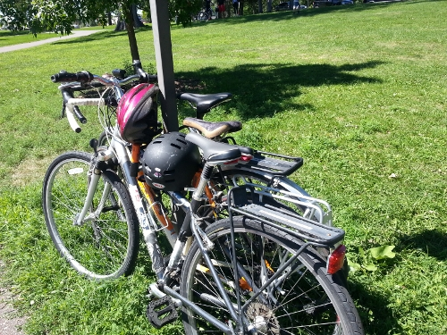 Our bikes, exhausted from mahoosive riding! (Well, not so much.)