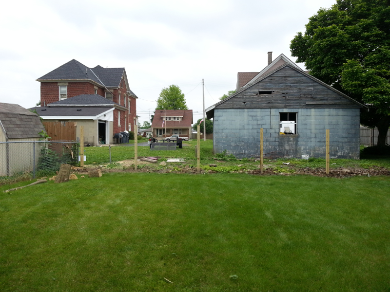 The new fence posts have been installed.