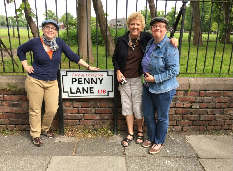 Amy, mom, and me at Penny Lane