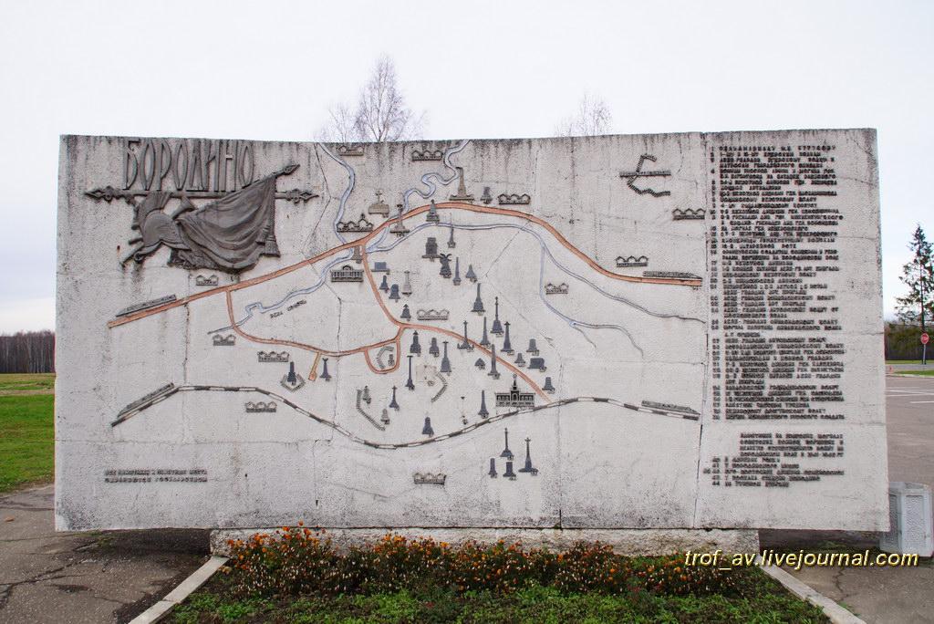 Схема расположения памятников на Бородинском поле