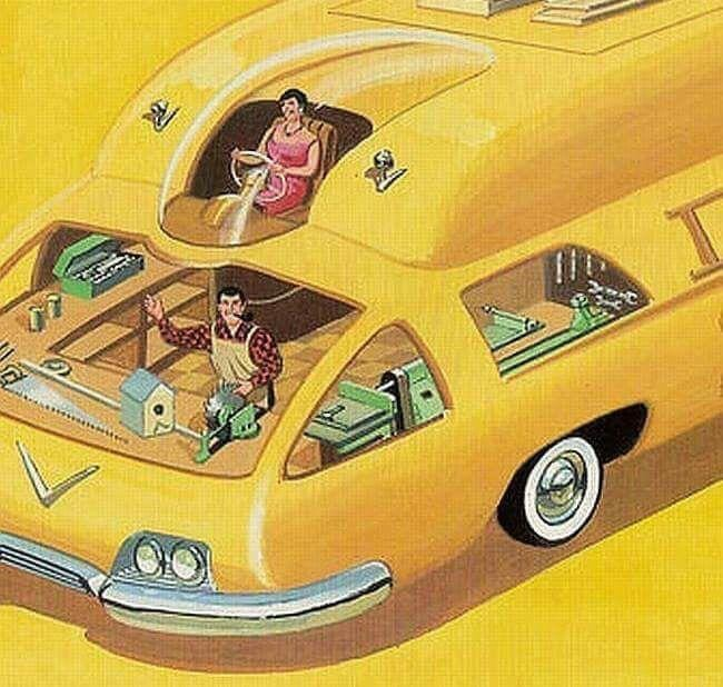 1982, Bruce McCall, Car, illustration, McCall, retrofuturism, road.