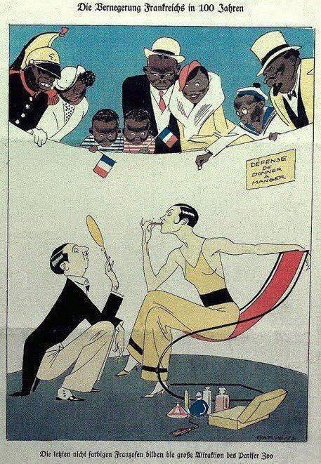 """""""Франция через 100 лет"""" Иллюстрация из немецкого журнала «Кладдерадач» (Kladderadatsch) 1932-го года"""