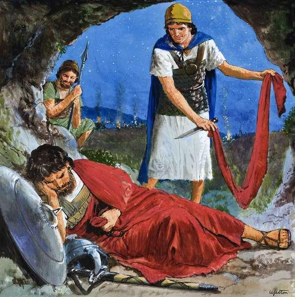 Давид отрезает край одежды Саула, когда тот спит, утомившись от погони за своим врагом Давидом
