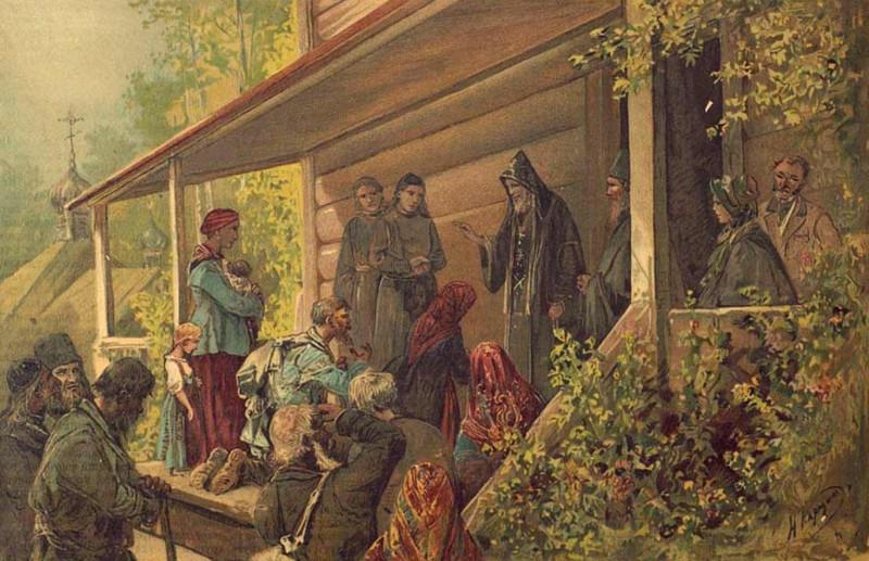 Старец Зосима дает наставления людям на крыльце своего монастырского жилища