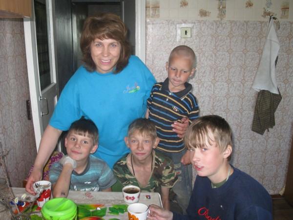 Люба Куляк с детьми