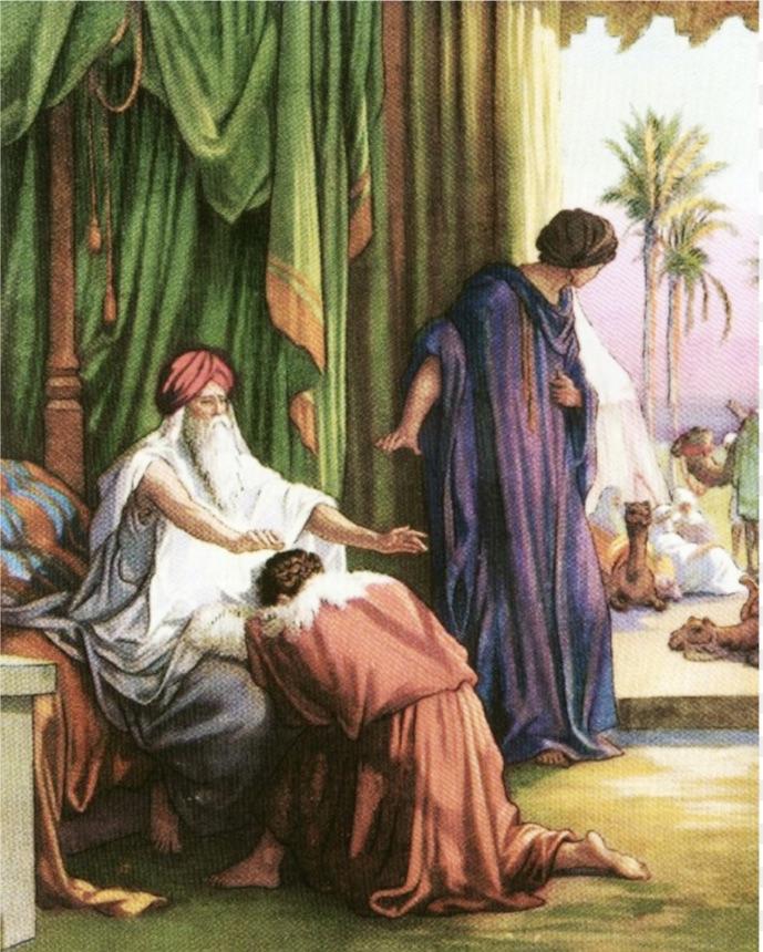 Исаак благословляет Иакова, а Ревекка сторожит...