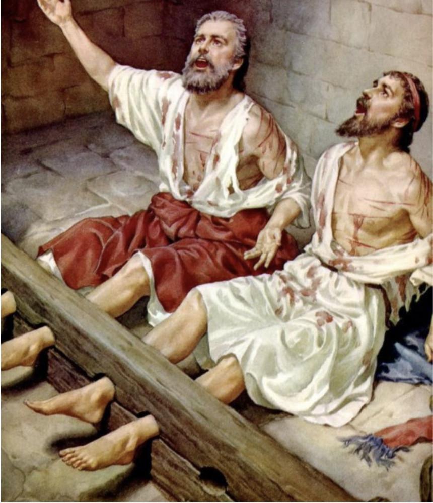 Павел и Сила прославляют Бога в тюрьме в г.Филиппы