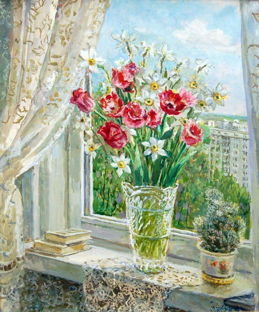 Цветы у окна. Автор -  Д.П. Кормилицын