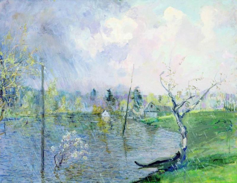 Весенний дождь. Художник Н.М. Ромадин (1903-1987)