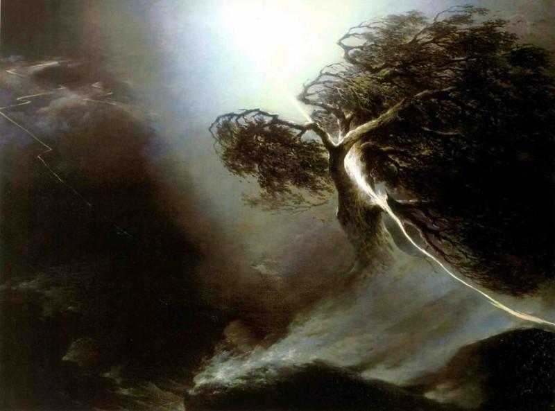 Максим Никифорович Воробьев «Дуб, раздробленный молнией», 1842