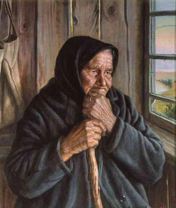 Сидела у окна старушка. Художник А. Шилов