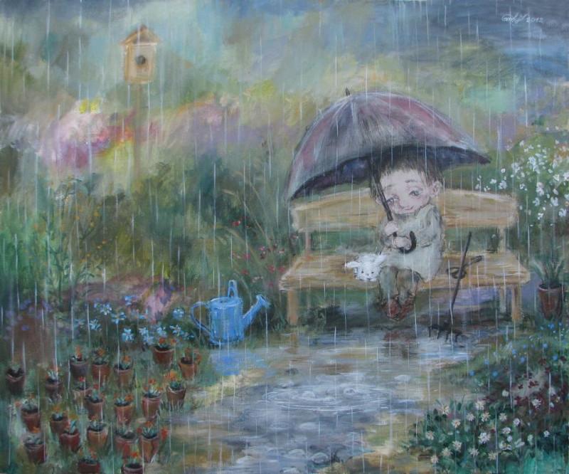 Дождь от неба до земли Художник Нино Чакветадзе